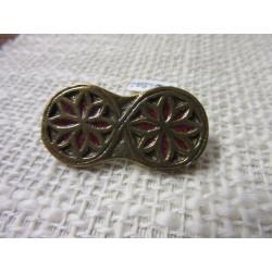 broche médiévale rosace en bronze émaillé