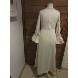 Robe en satin de coton et panne de velours ivoire