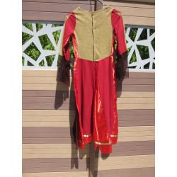 Location : robe coton et taffetas rouge et doré