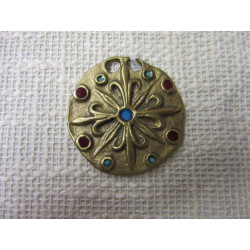 Pendentif  médiéval en bronze émaillé bleu et rouge