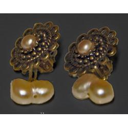 Boucles bronze perle